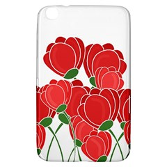 Red Floral Design Samsung Galaxy Tab 3 (8 ) T3100 Hardshell Case  by Valentinaart
