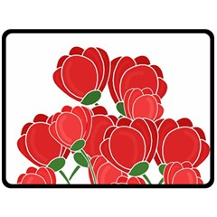 Red Floral Design Double Sided Fleece Blanket (large)