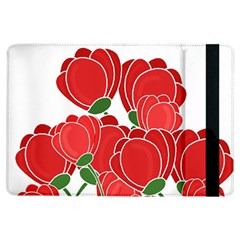 Red Floral Design Ipad Air Flip by Valentinaart
