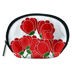 Red Floral Design Accessory Pouches (medium)