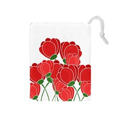 Red Floral Design Drawstring Pouches (medium)