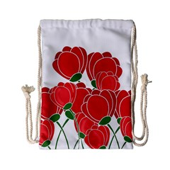 Red Floral Design Drawstring Bag (small) by Valentinaart