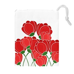 Red Floral Design Drawstring Pouches (extra Large) by Valentinaart