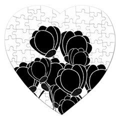 Black Flowers Jigsaw Puzzle (heart) by Valentinaart