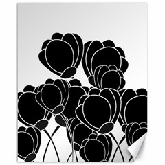 Black Flowers Canvas 16  X 20   by Valentinaart