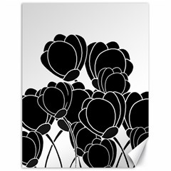 Black Flowers Canvas 18  X 24   by Valentinaart
