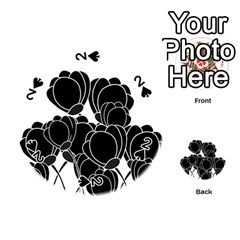 Black Flowers Playing Cards 54 (round)  by Valentinaart
