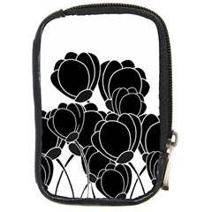 Black Flowers Compact Camera Cases by Valentinaart
