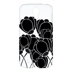 Black Flowers Samsung Galaxy S4 I9500/i9505 Hardshell Case by Valentinaart