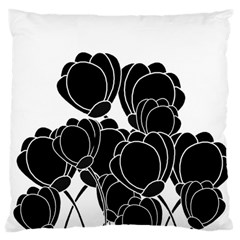 Black Flowers Large Flano Cushion Case (two Sides) by Valentinaart