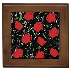 Red Roses Framed Tiles by Valentinaart