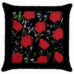 Red Roses Throw Pillow Case (black) by Valentinaart