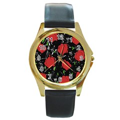 Red Roses Round Gold Metal Watch by Valentinaart