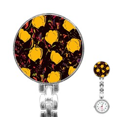 Yellow Roses  Stainless Steel Nurses Watch