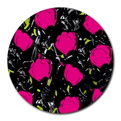 Pink Roses  Round Mousepads by Valentinaart