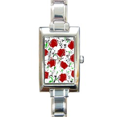 Red Roses 2 Rectangle Italian Charm Watch by Valentinaart
