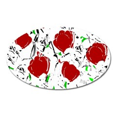 Red Roses 2 Oval Magnet