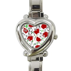 Red Roses 2 Heart Italian Charm Watch by Valentinaart