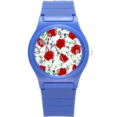 Red Roses 2 Round Plastic Sport Watch (s) by Valentinaart
