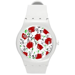Red Roses 2 Round Plastic Sport Watch (m)