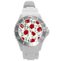 Red Roses 2 Round Plastic Sport Watch (l) by Valentinaart