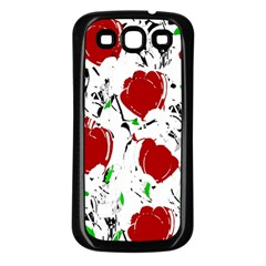 Red Roses 2 Samsung Galaxy S3 Back Case (black) by Valentinaart