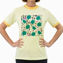 Cyan Roses Women s Fitted Ringer T Shirts by Valentinaart