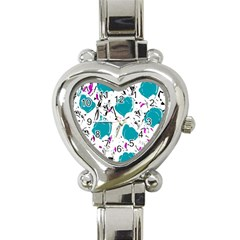 Cyan Roses Heart Italian Charm Watch by Valentinaart