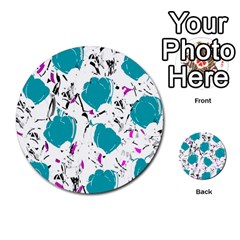 Cyan Roses Multi Purpose Cards (round)  by Valentinaart