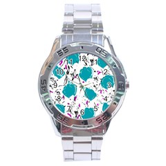 Cyan Roses Stainless Steel Analogue Watch by Valentinaart