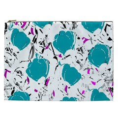 Cyan Roses Cosmetic Bag (xxl)  by Valentinaart