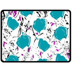 Cyan Roses Double Sided Fleece Blanket (large)  by Valentinaart