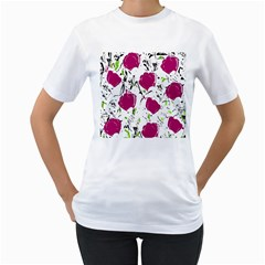Magenta Roses Women s T Shirt (white) (two Sided) by Valentinaart