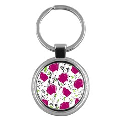 Magenta Roses Key Chains (round)  by Valentinaart