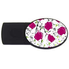 Magenta Roses Usb Flash Drive Oval (2 Gb)  by Valentinaart