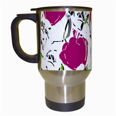 Magenta Roses Travel Mugs (white) by Valentinaart