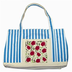 Magenta Roses Striped Blue Tote Bag by Valentinaart