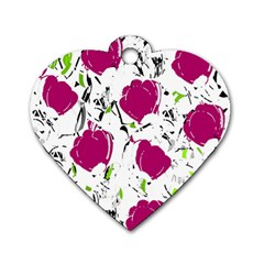 Magenta Roses Dog Tag Heart (two Sides) by Valentinaart