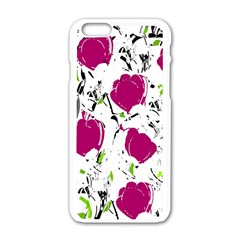 Magenta Roses Apple Iphone 6/6s White Enamel Case by Valentinaart
