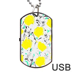 Yellow Roses 2 Dog Tag Usb Flash (one Side) by Valentinaart