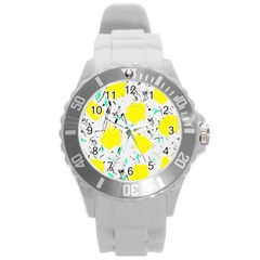 Yellow Roses 2 Round Plastic Sport Watch (l) by Valentinaart