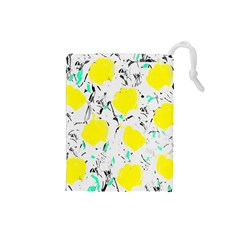 Yellow Roses 2 Drawstring Pouches (small)  by Valentinaart