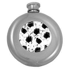 Black Roses Round Hip Flask (5 Oz) by Valentinaart