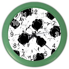 Black Roses Color Wall Clocks by Valentinaart
