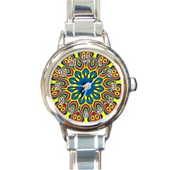 Yellow Flower Mandala Round Italian Charm Watch by designworld65