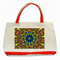 Yellow Flower Mandala Classic Tote Bag (red) by designworld65