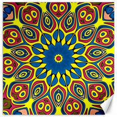 Yellow Flower Mandala Canvas 16  X 16   by designworld65