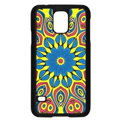 Yellow Flower Mandala Samsung Galaxy S5 Case (black) by designworld65