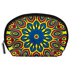 Yellow Flower Mandala Accessory Pouches (large)  by designworld65