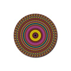 Ornament Mandala Rubber Coaster (round)  by designworld65